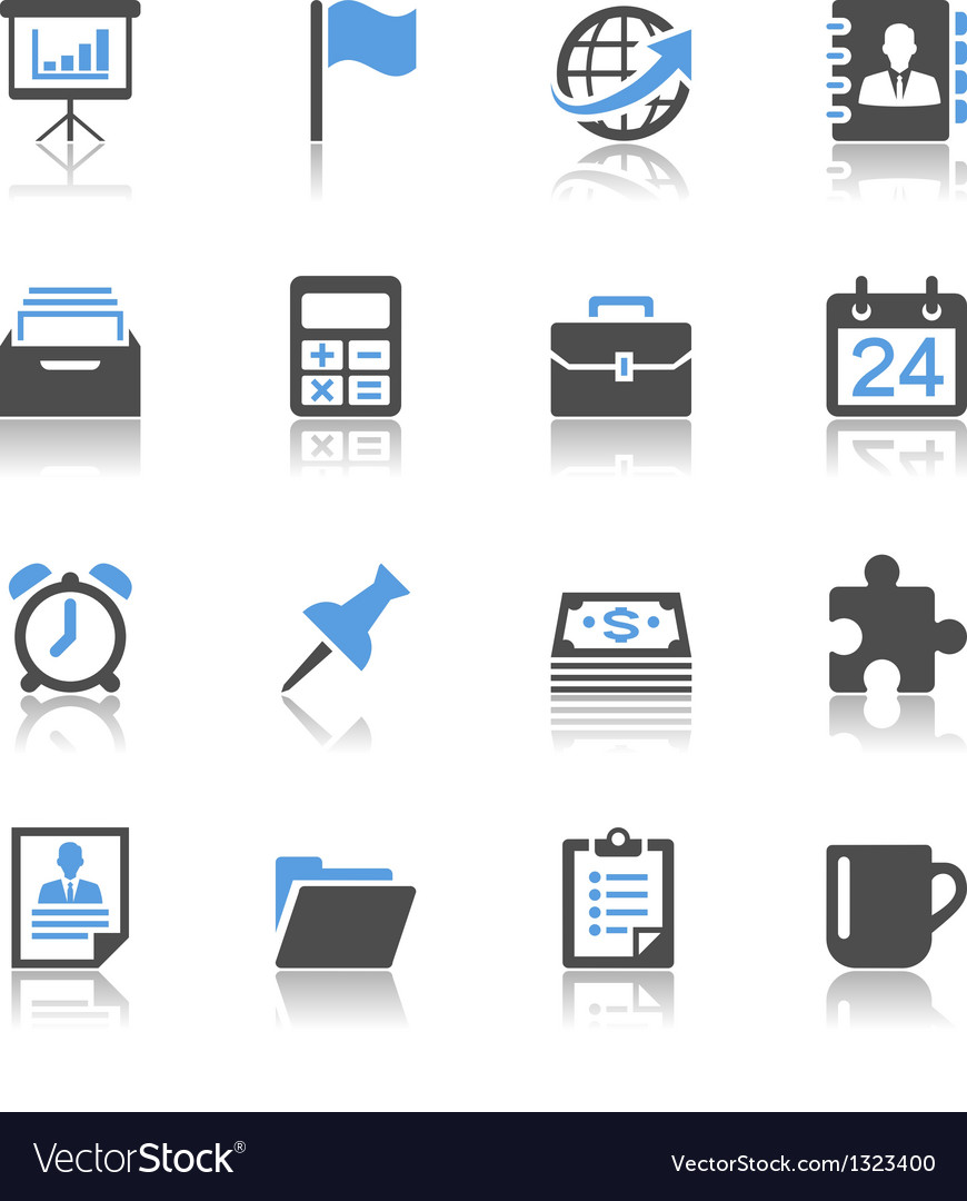 Business and office icons reflection vector