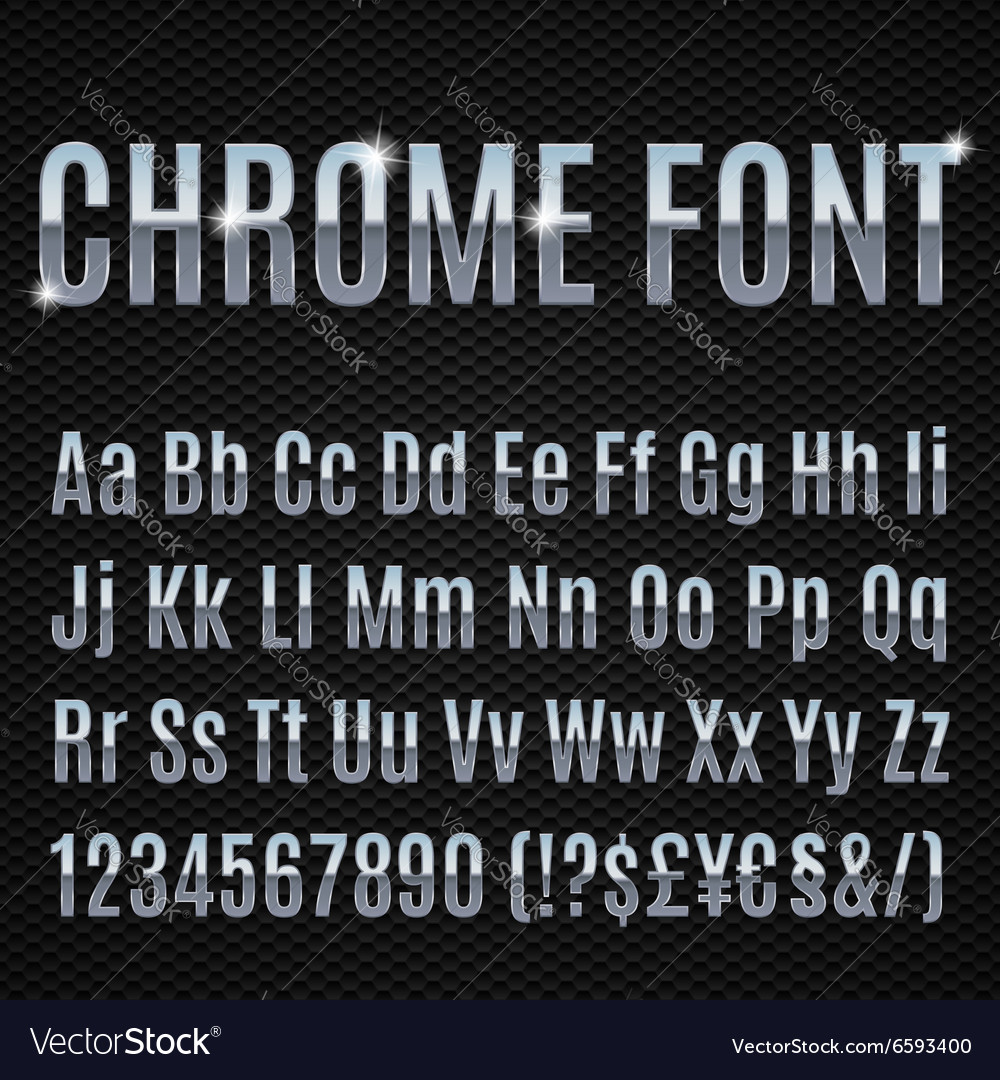 Chrome font vector