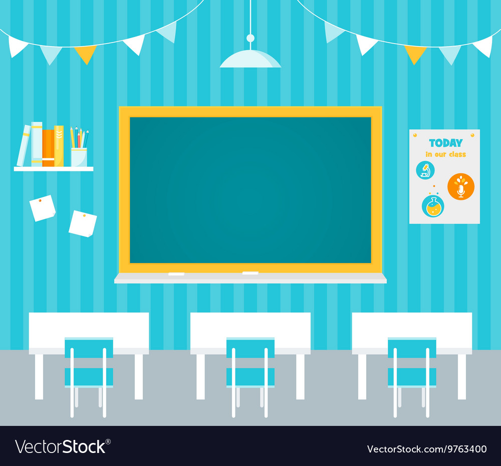 Classroom with blank chalkboard flag garlands vector