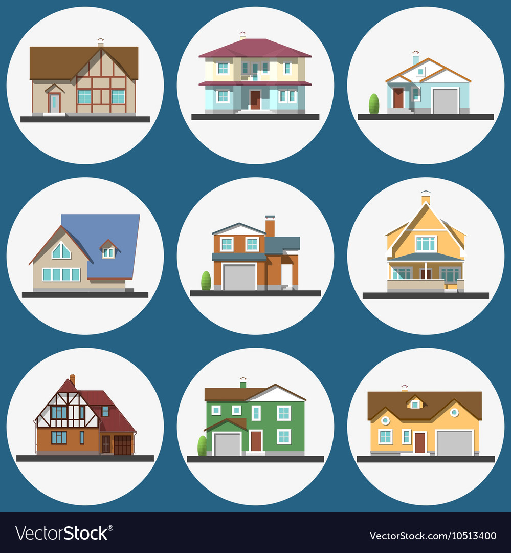 Colorful flat residential houses set vector