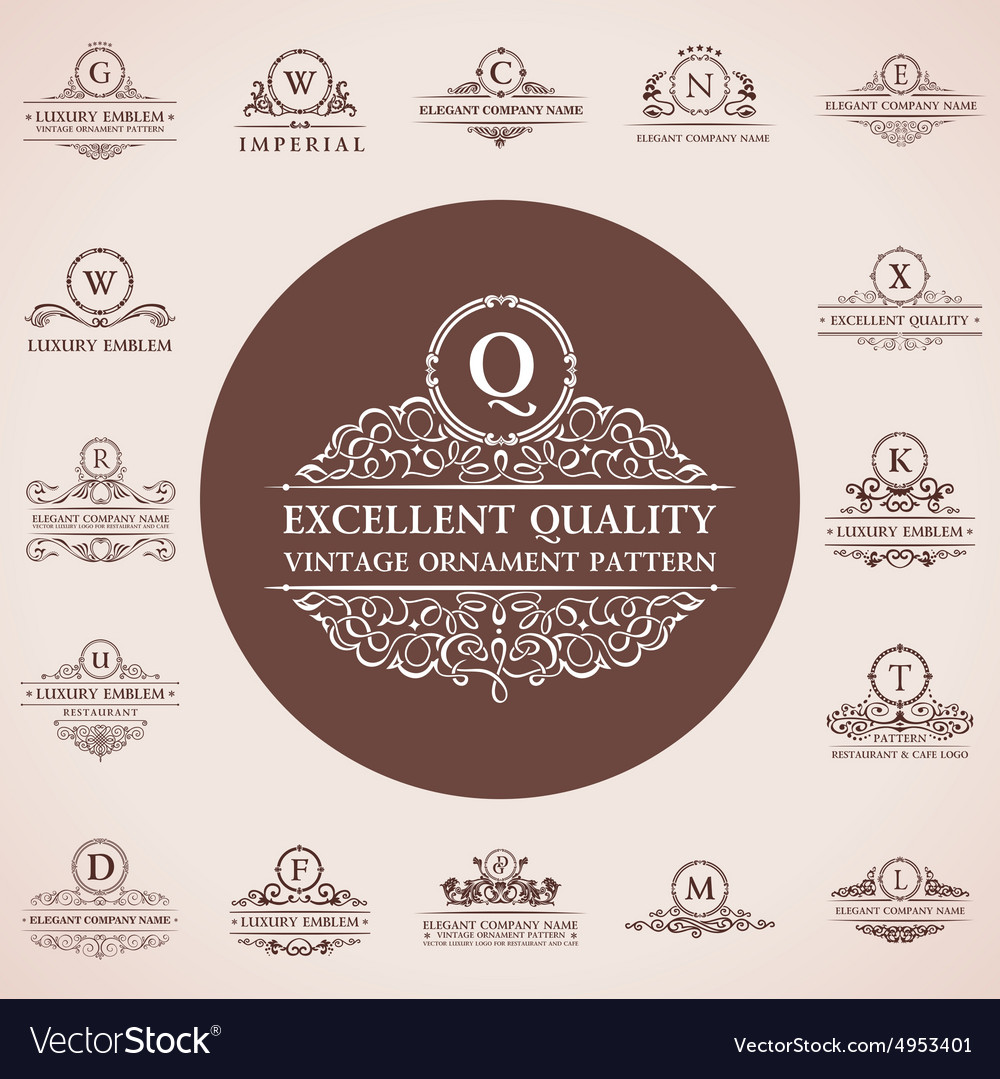 Calligraphic logos set vintage template pattern vector