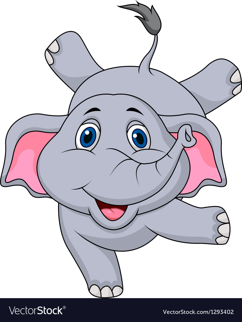 Cute elephant cartoon circus vector