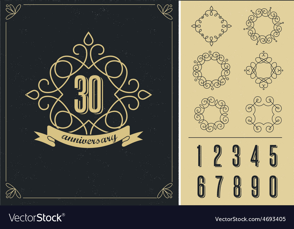 Anniversary  art line background with frames vector