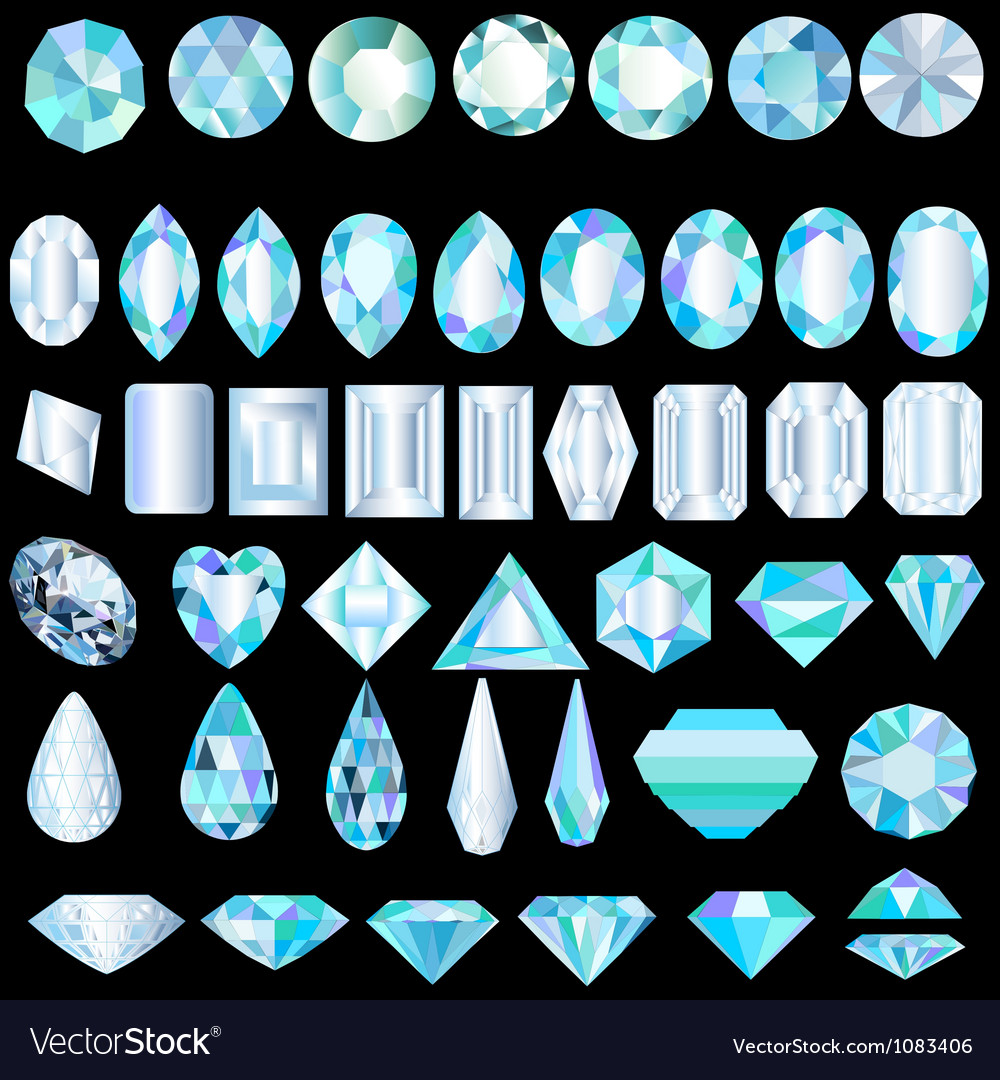 A set of light precious stones of different cut vector