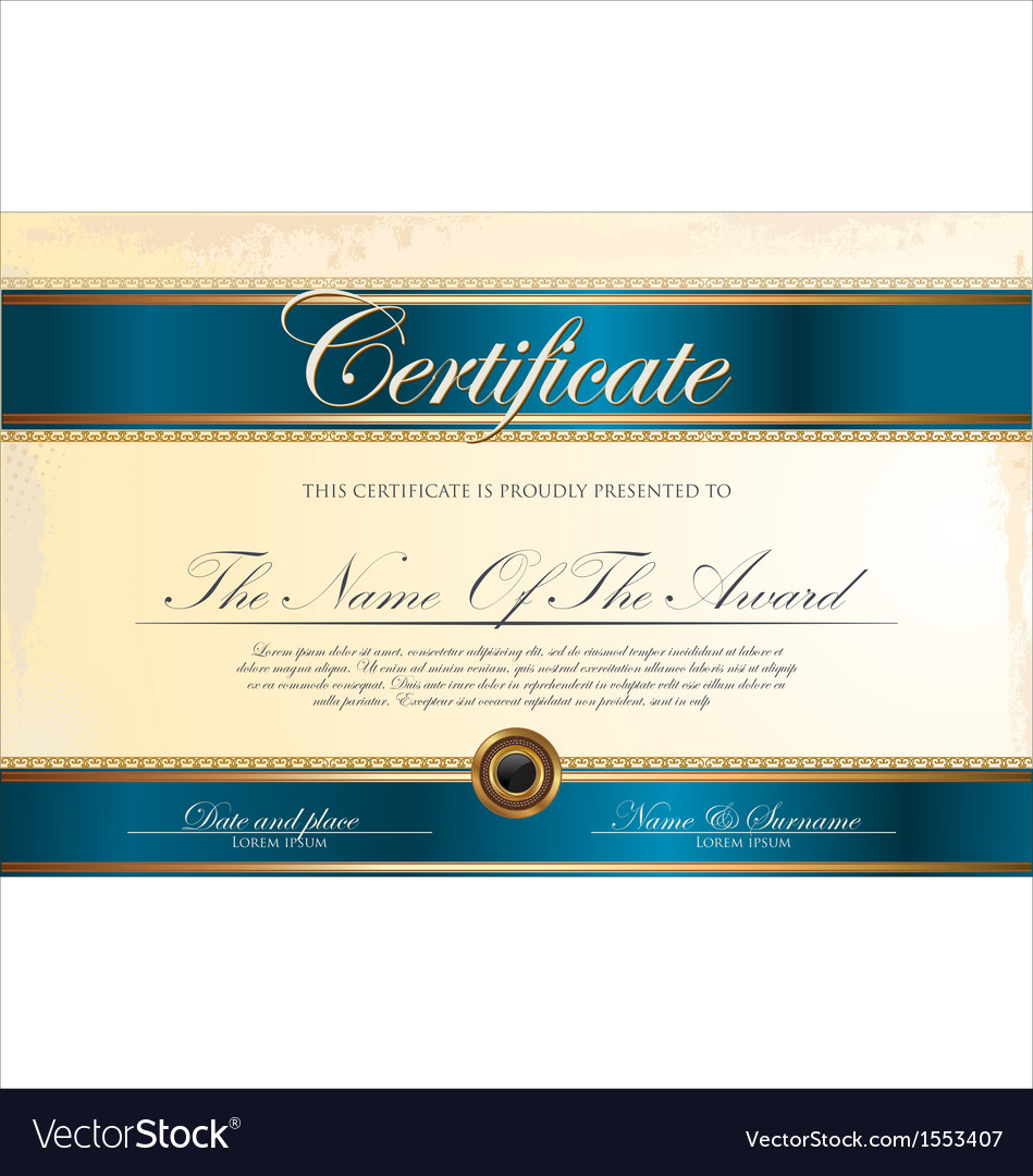 Blue certificate template vector