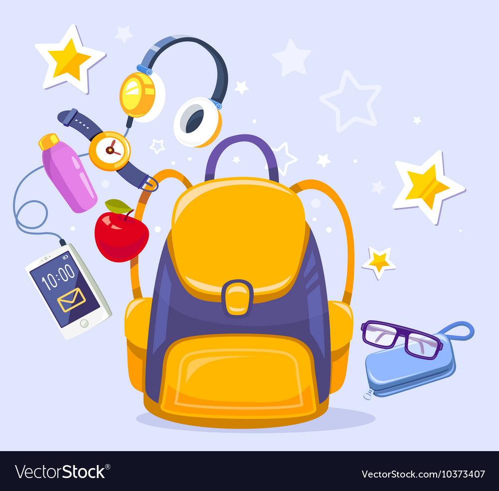Colorful of yellow backpack phone with head vector
