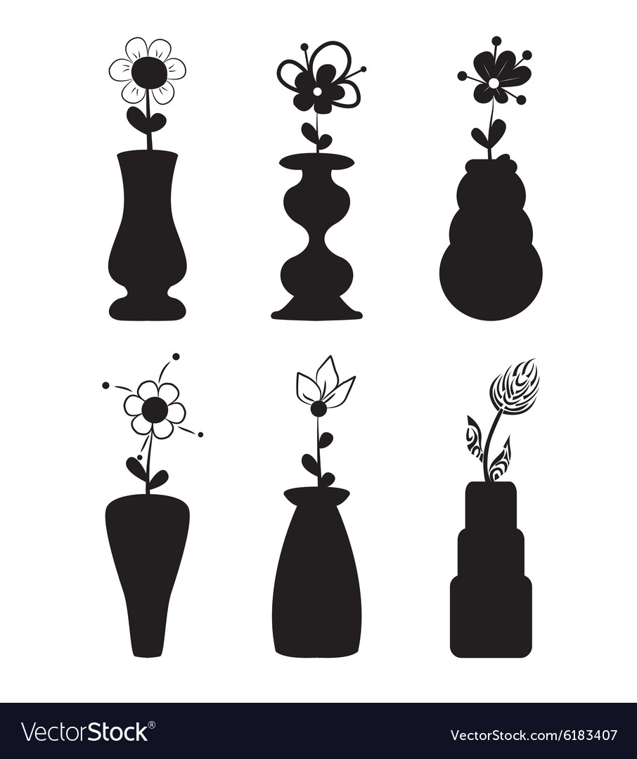 Different slyle of vases with flowers vector