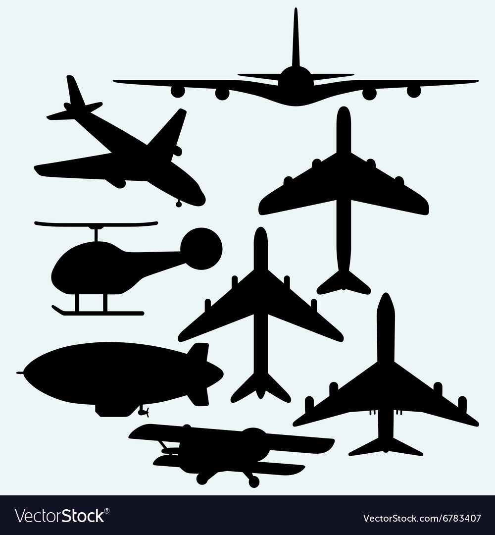 Set jets dirigible helicopter vector