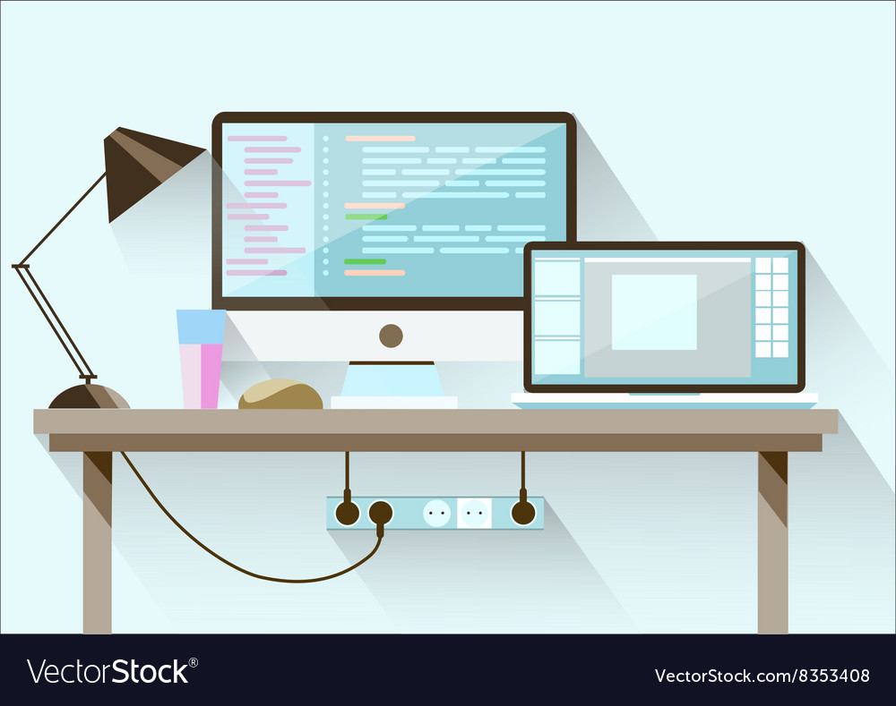 Creative office desktop workspace flat design vector