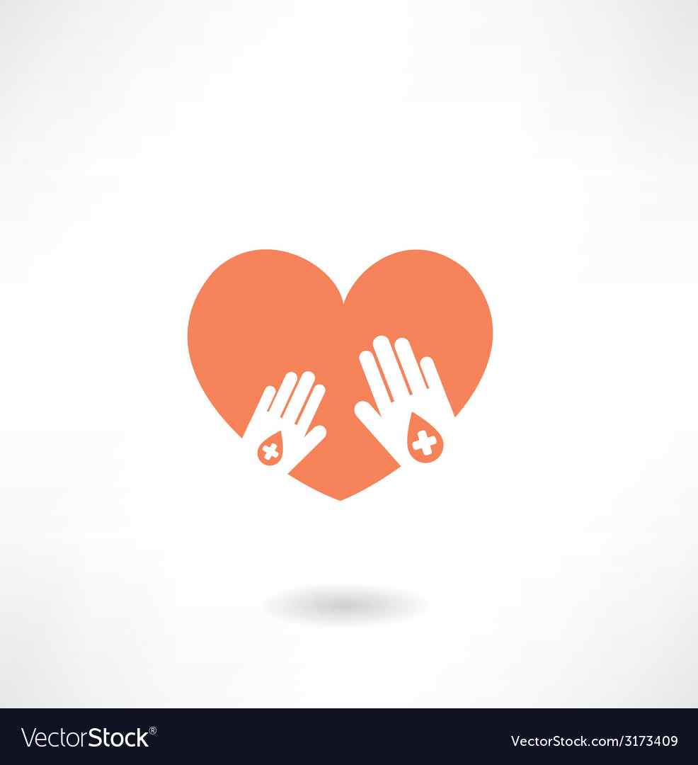 Hands holding the heart donor icon vector