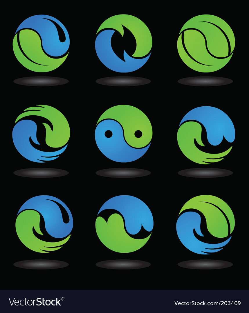Yin yang logos and icons vector