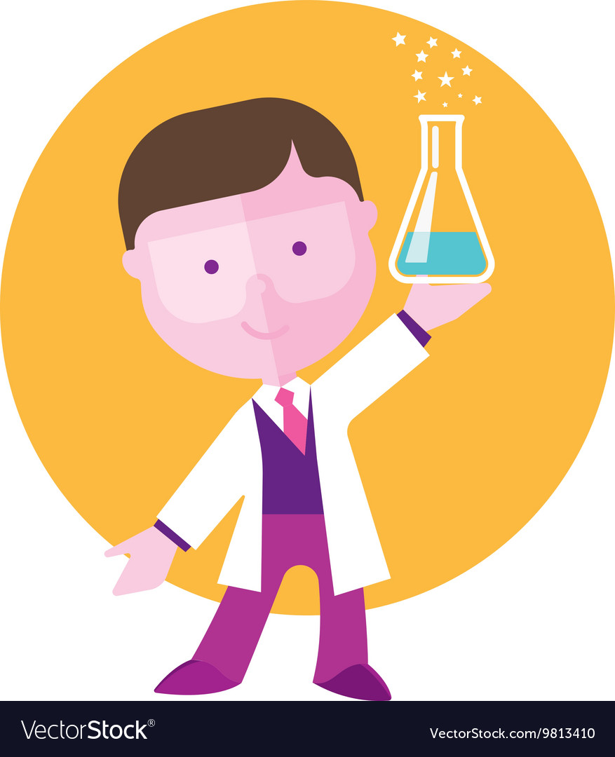 Boy student studying chemistry vector