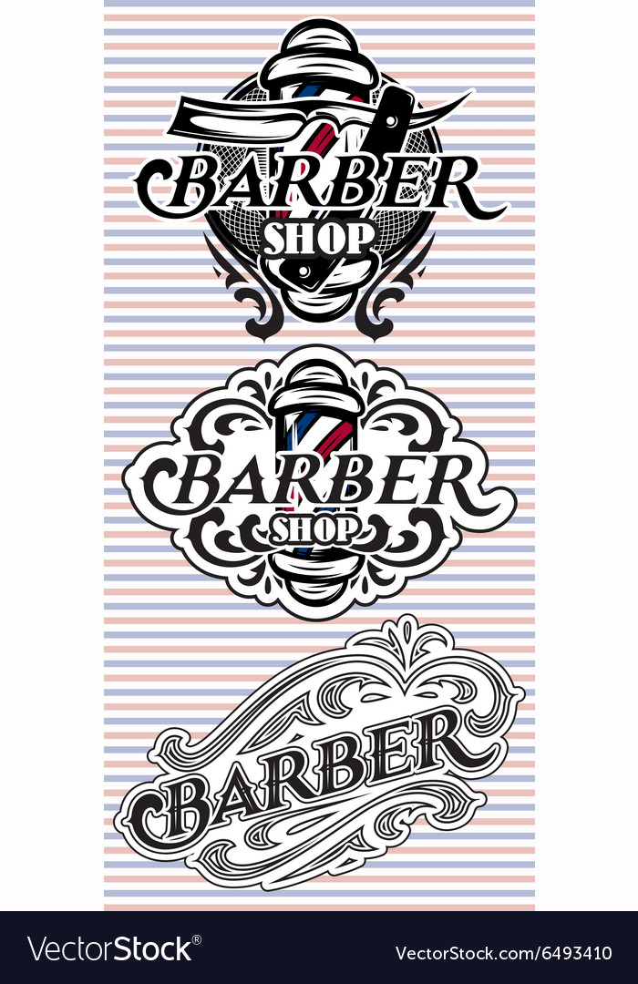 Set retro badges with ornament for barbershop vector
