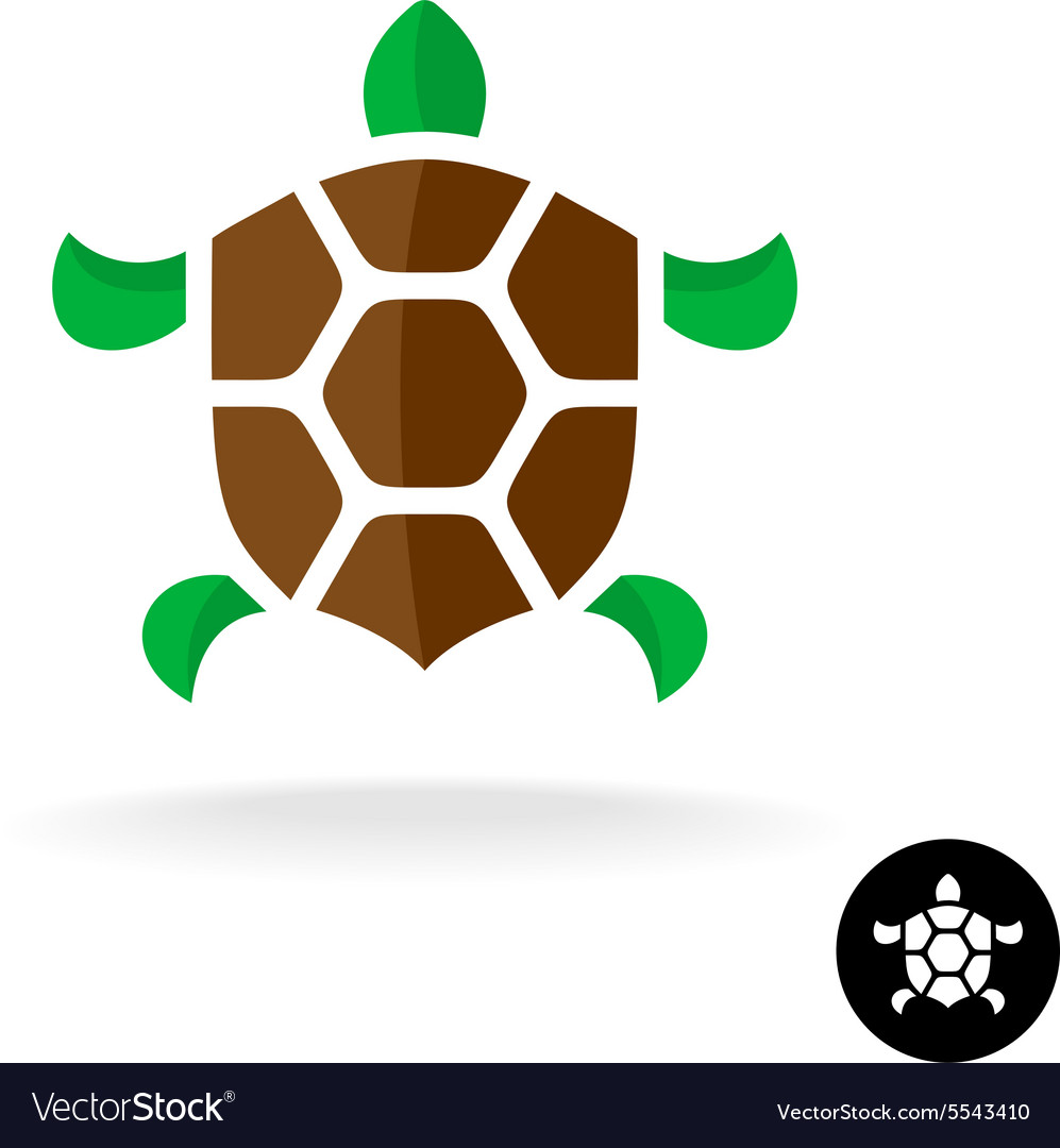 Turtle logo with shield shaped shell vector