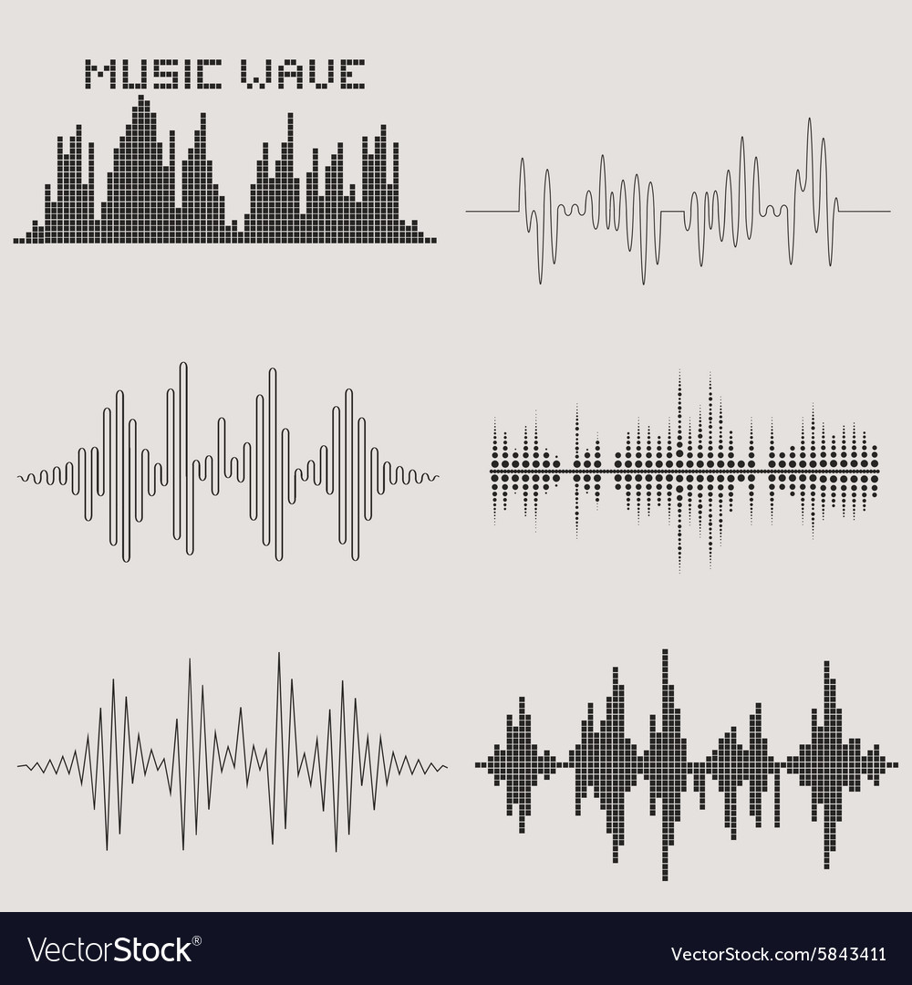 Sound waves set music icons audio equalizer vector