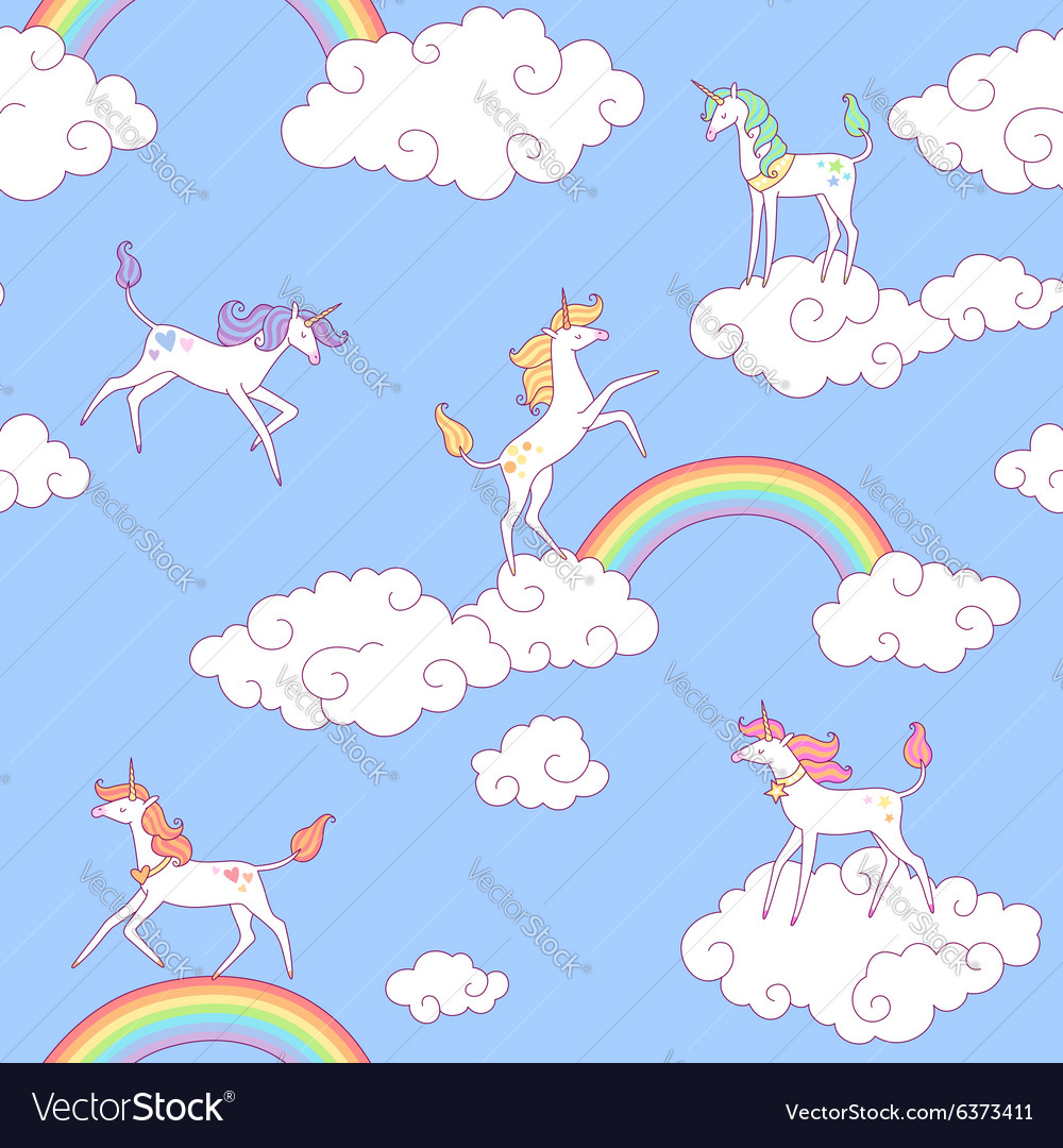 Unicorns pattern clouds vector