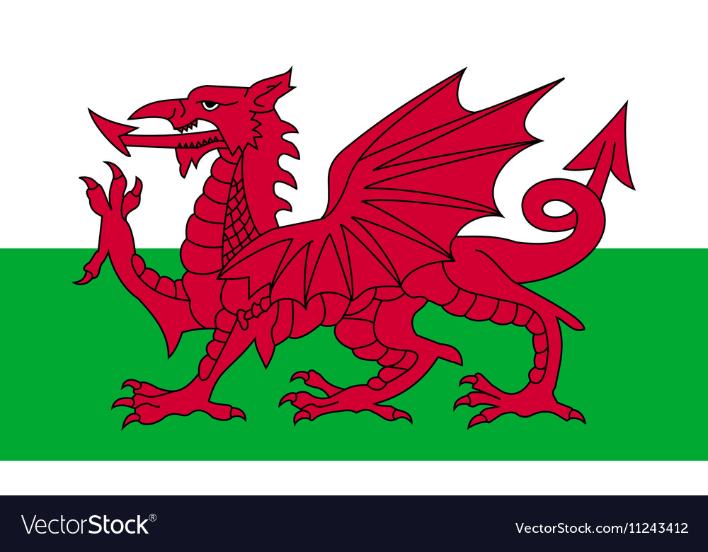 Flag of wales in correct proportions and colors vector