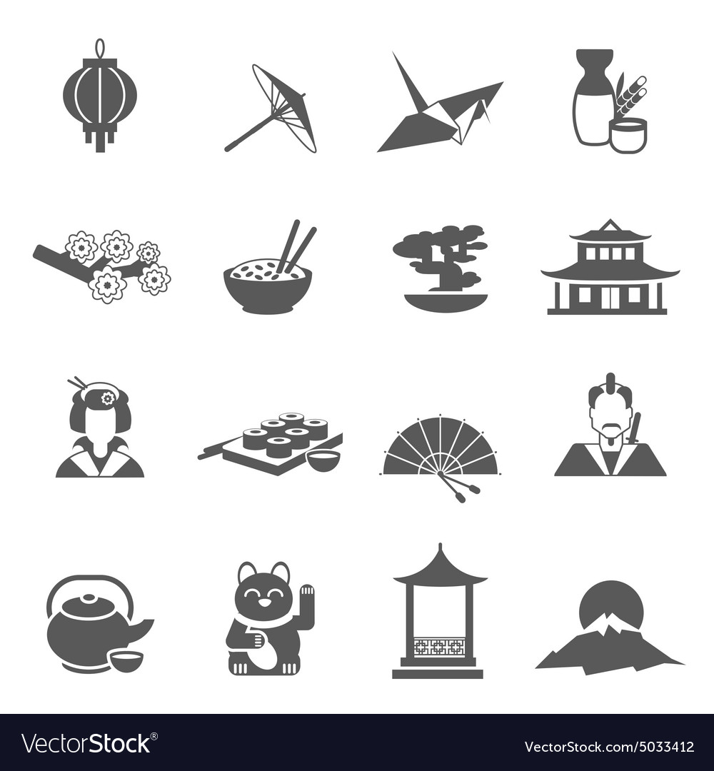 Japan silhouette flat icon set vector