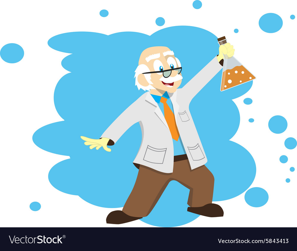 Cartoon scientist doctor professor with a flask vector