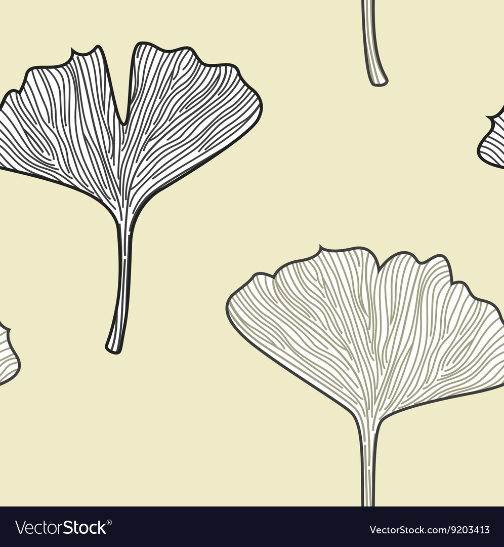 Ginkgo seamless interior wallpaper in retro style vector