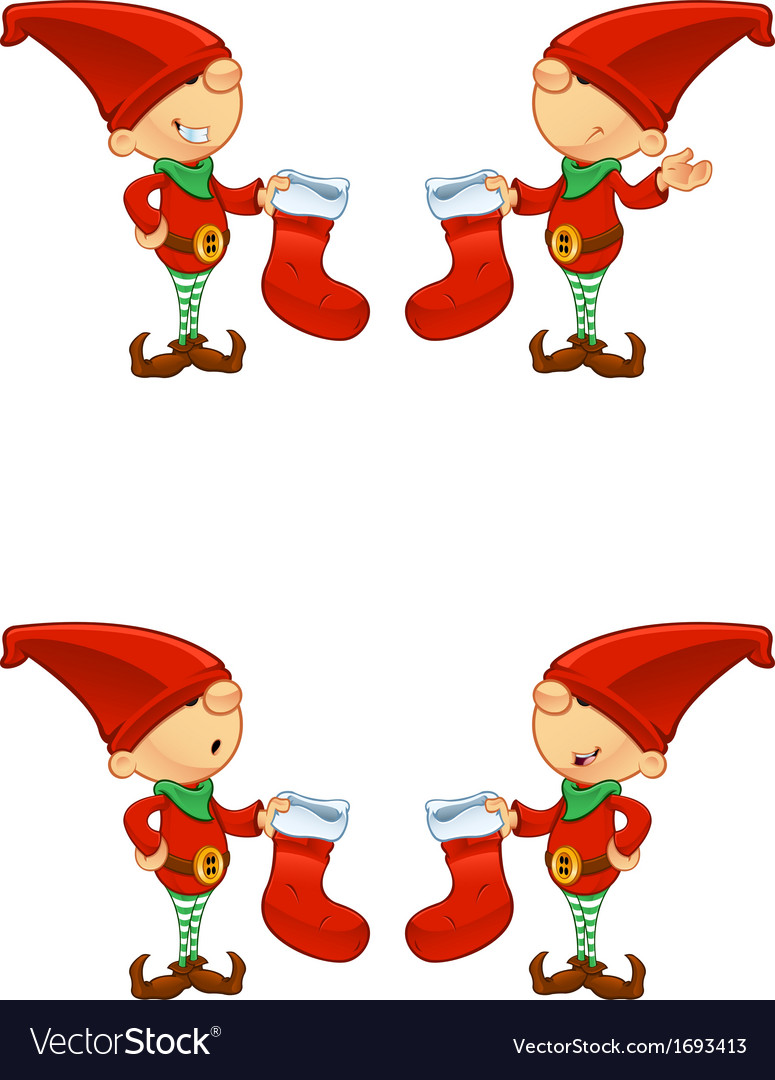 Red elf holding stocking vector