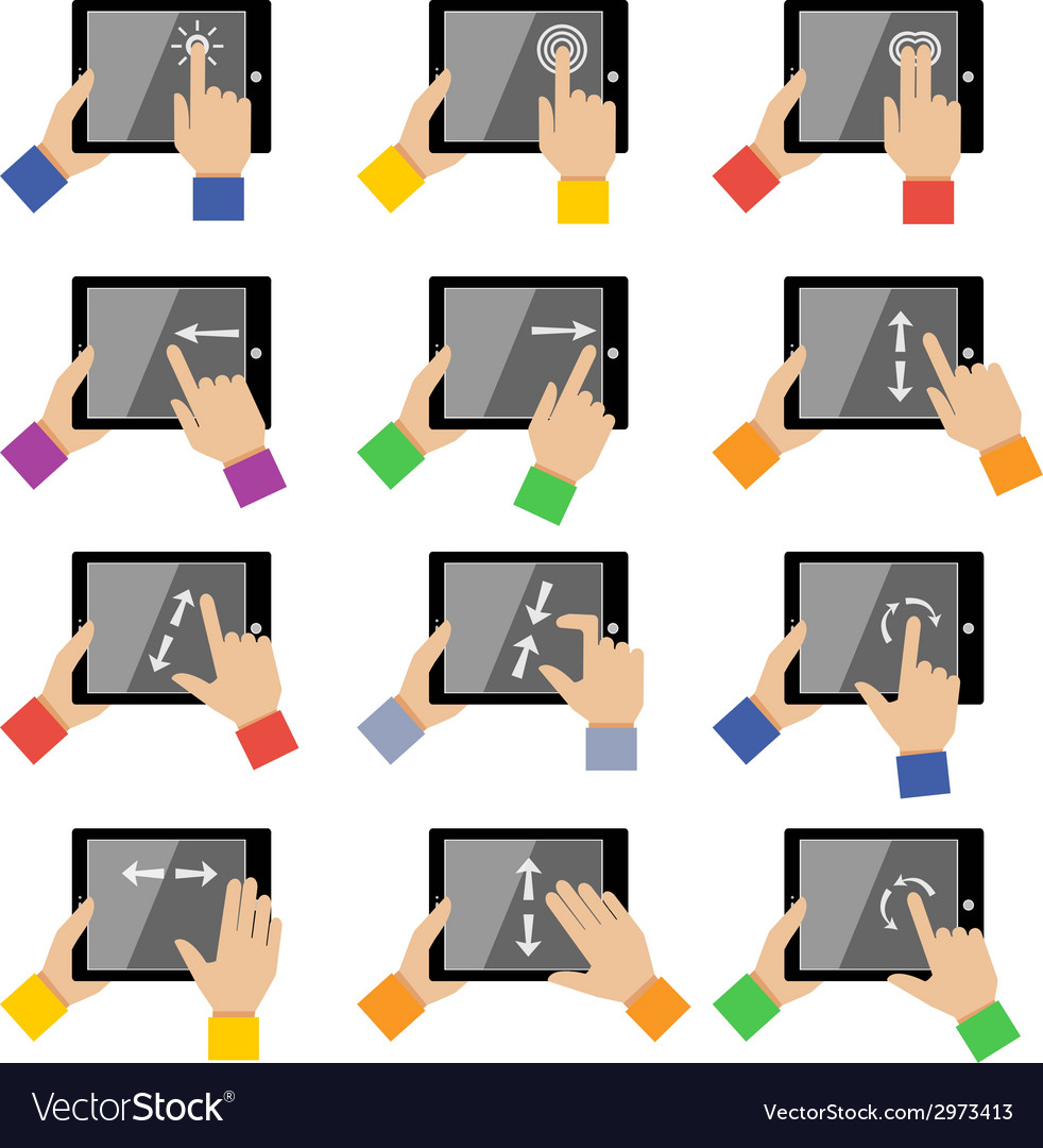 Tablet touch gestures vector