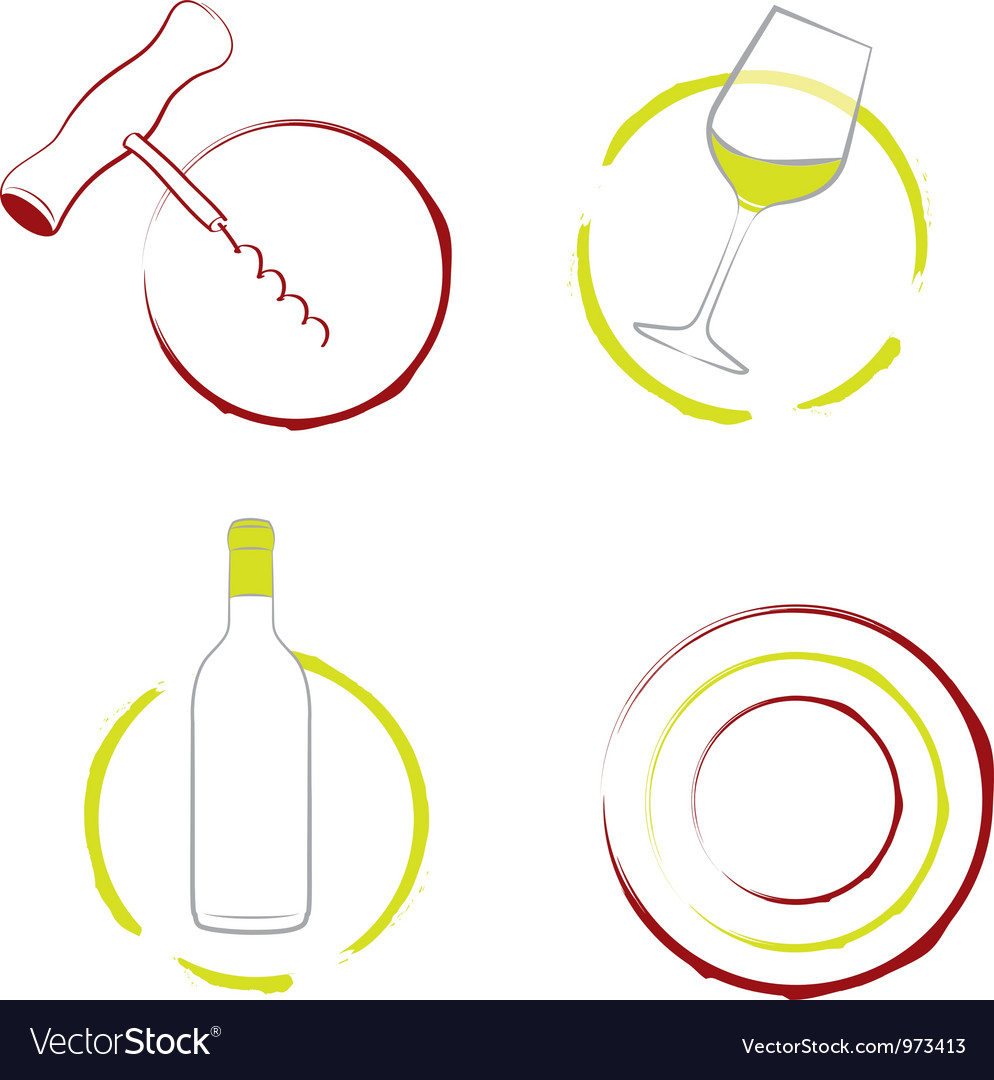 Wineglass bottle of wine and corkscrew vector