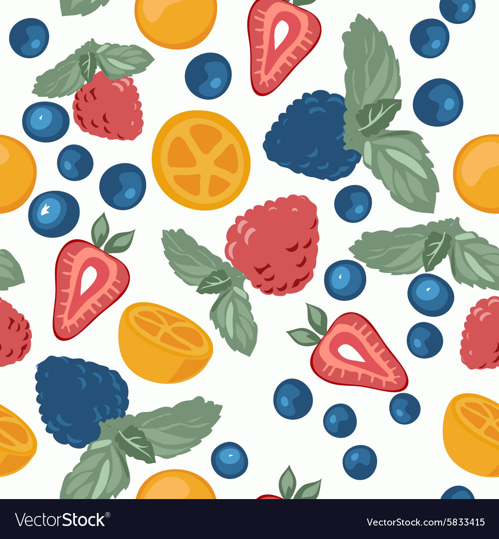 Berry pattern with fruits vector