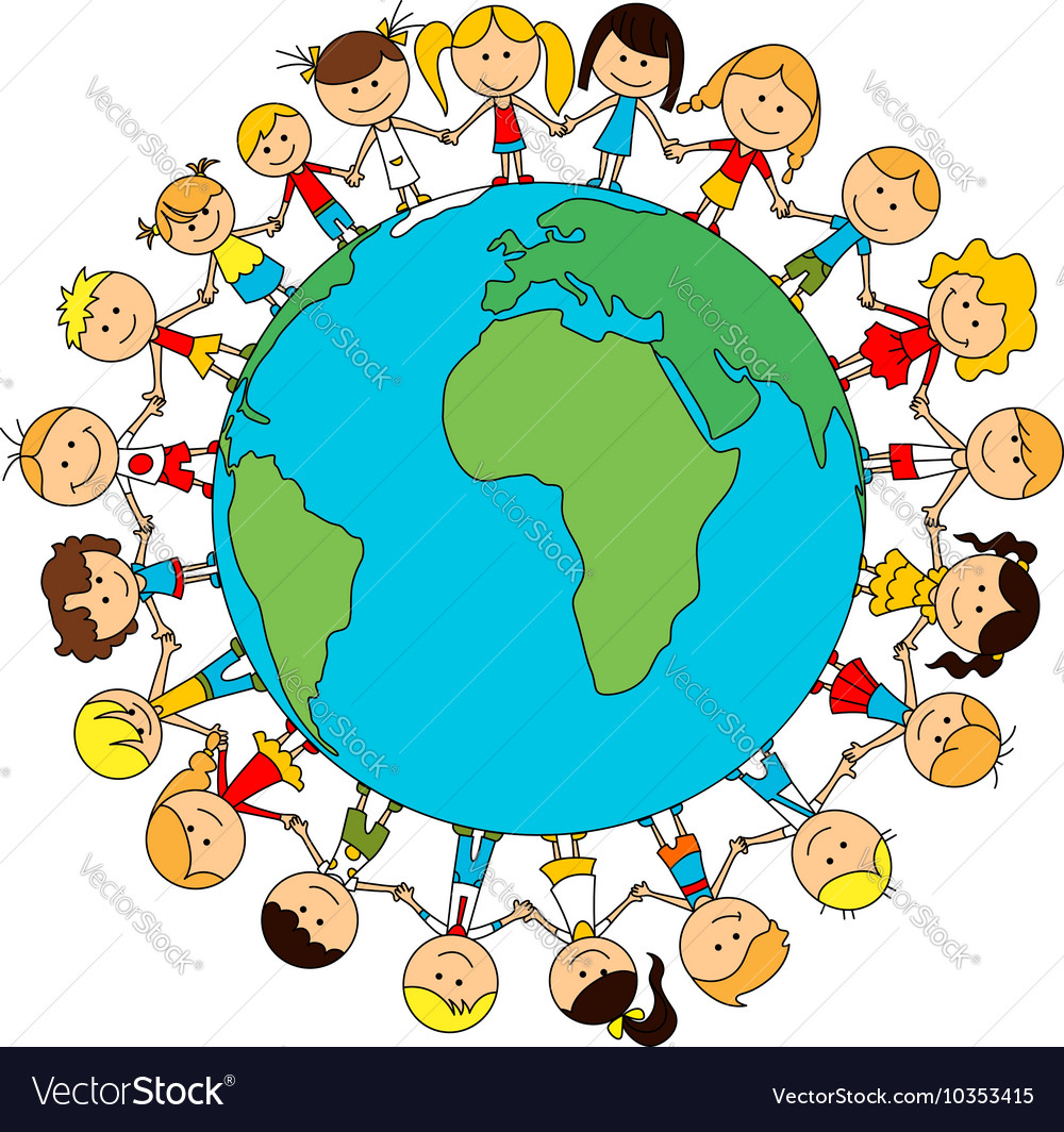 Children world friendship cartoon poster vector