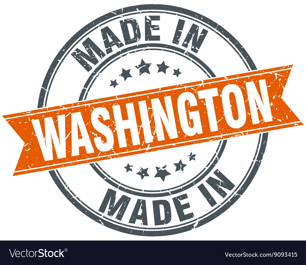 Washington orange grunge ribbon stamp on white vector