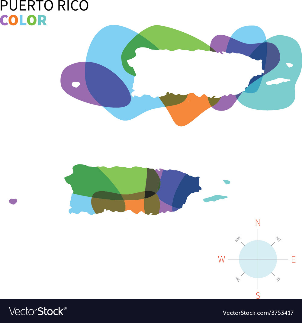 Abstract color map of puerto rico vector