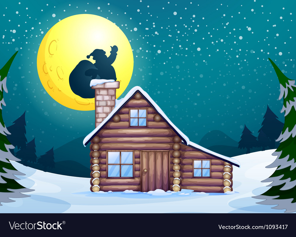 Winter cabin vector