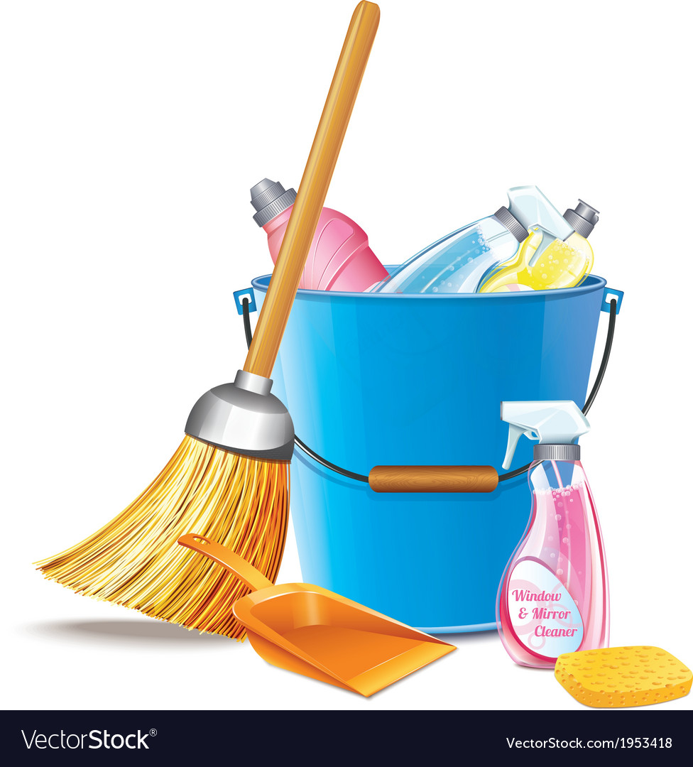 Bucket with detergents vector