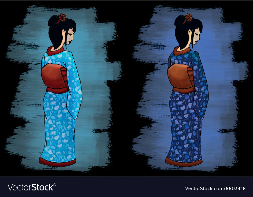 Hand drawn geisha set vector