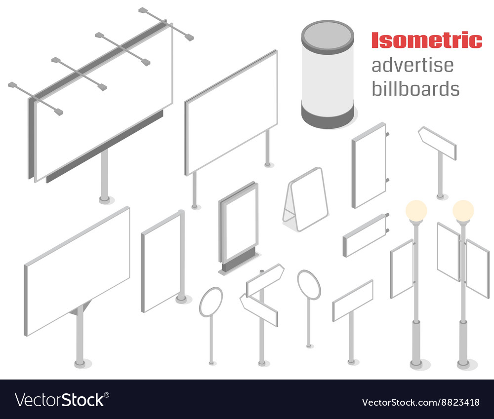 Isometric advertise billboards vector