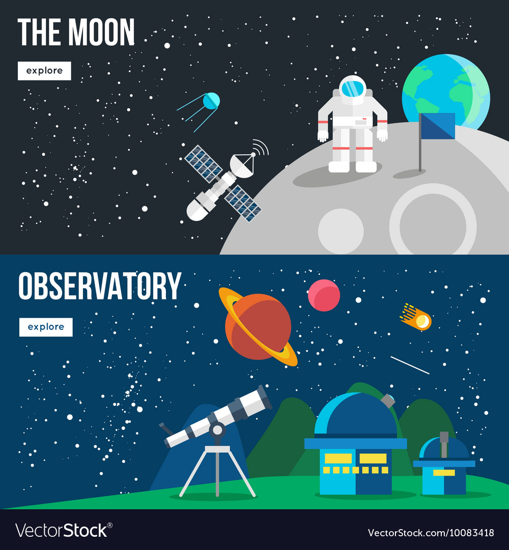 Space universe banner set vector