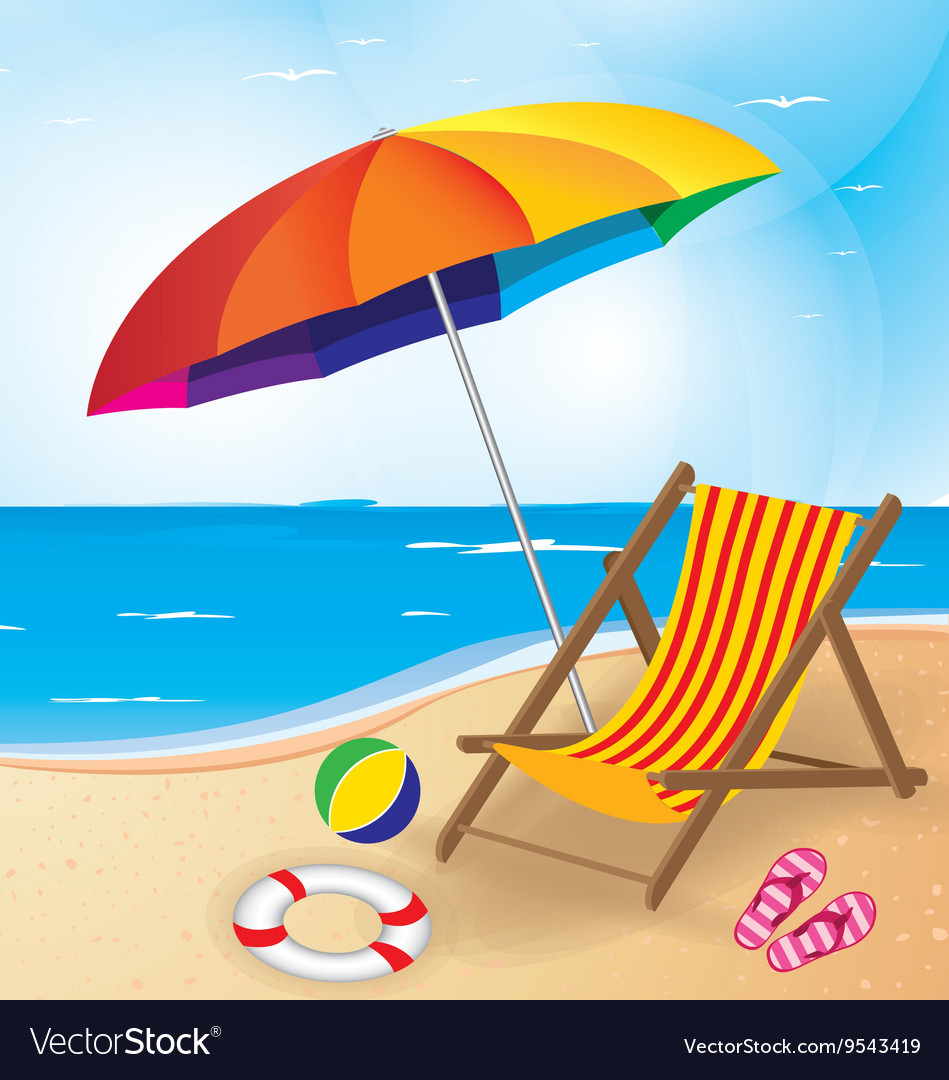 Beach and umbrella and chair summer beach vector