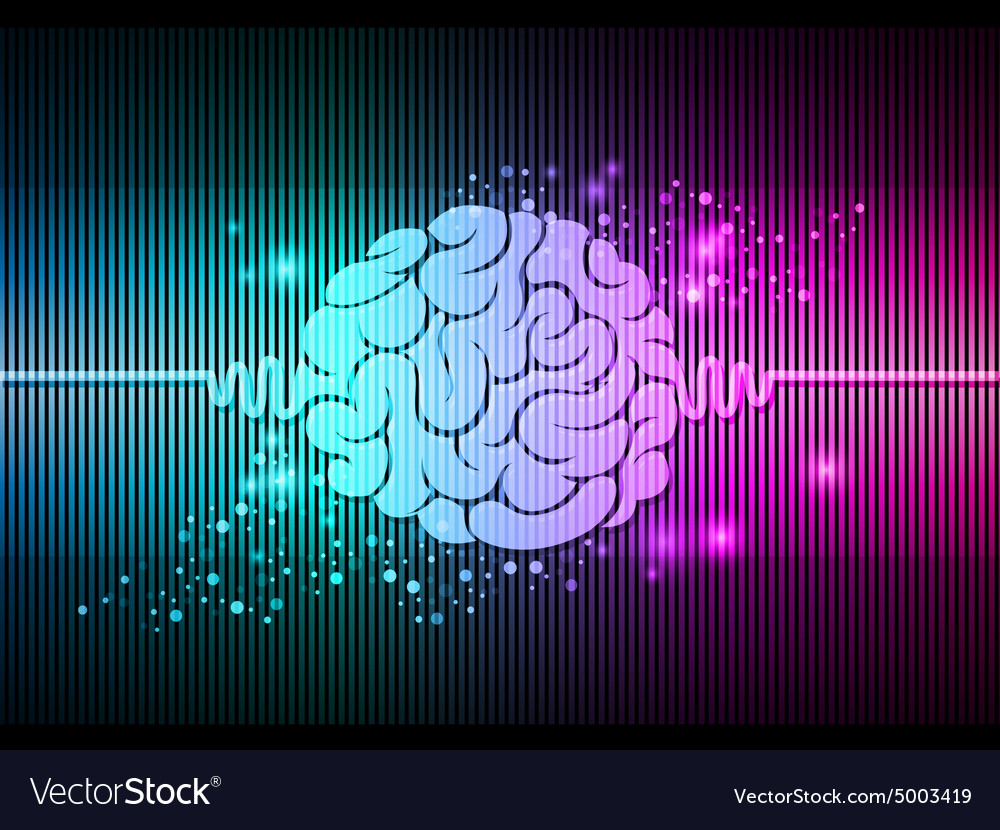 Brain colorful lights background vector