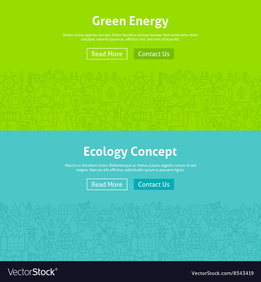 Ecology green energy line art web banners set vector