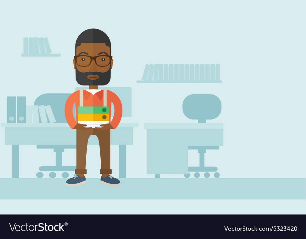 Black man standing inside his office vector
