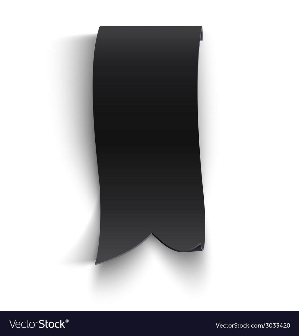 Black realistic curved paper banner vector