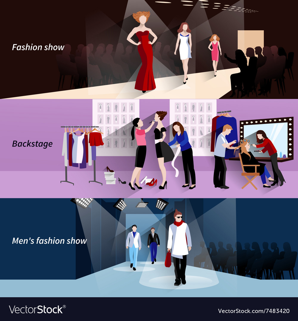 Fashion model catwalk banner set vector