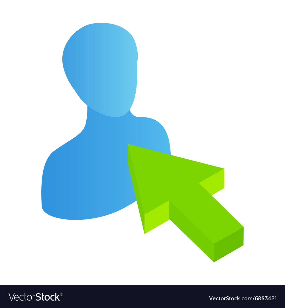 Click avatar isometric 3d icon vector