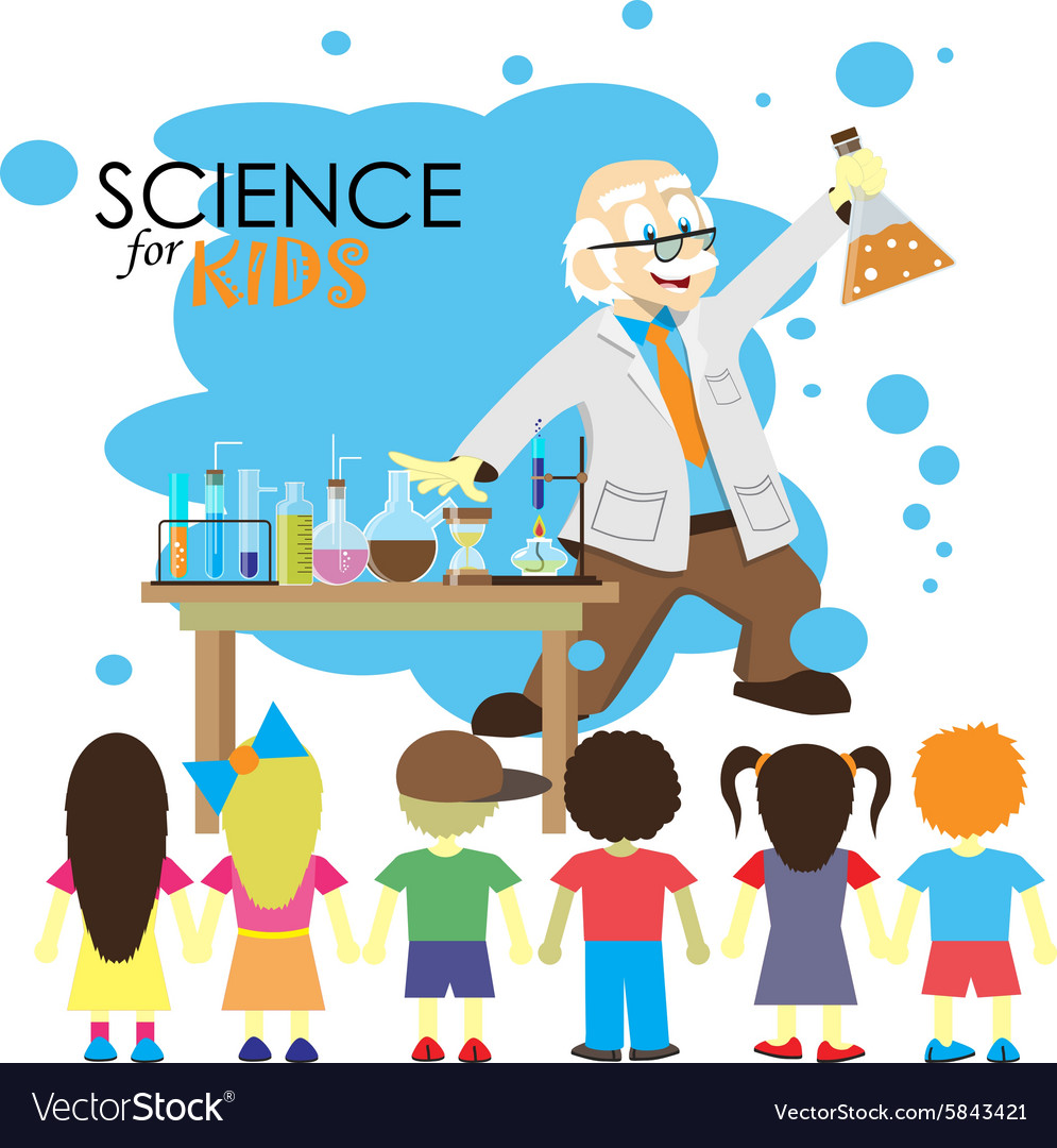 Science for kids cartoon scientist shows to kids vector
