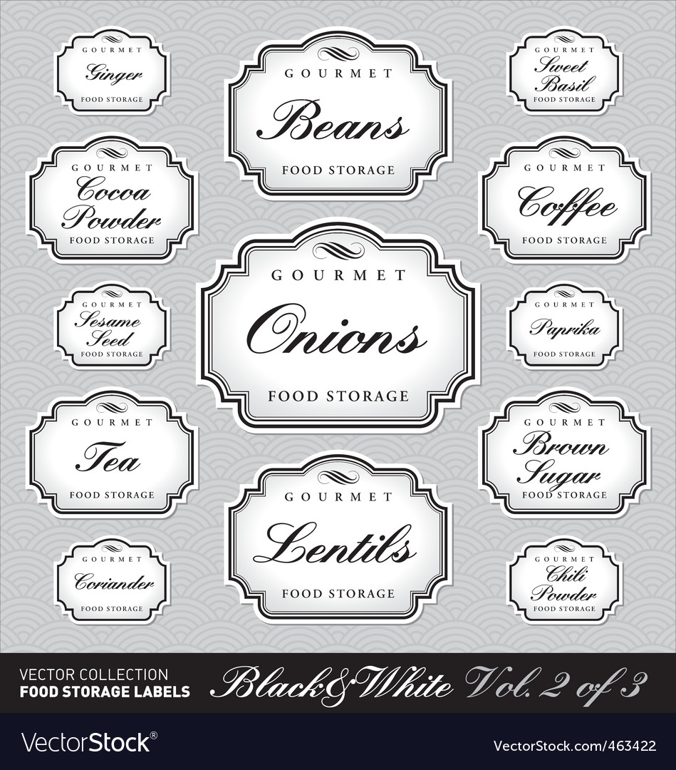 Ornate food storage labels vol2 vector