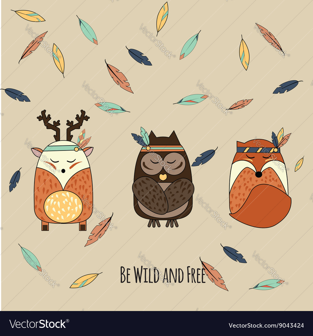Boho animals in hand drawn style vector