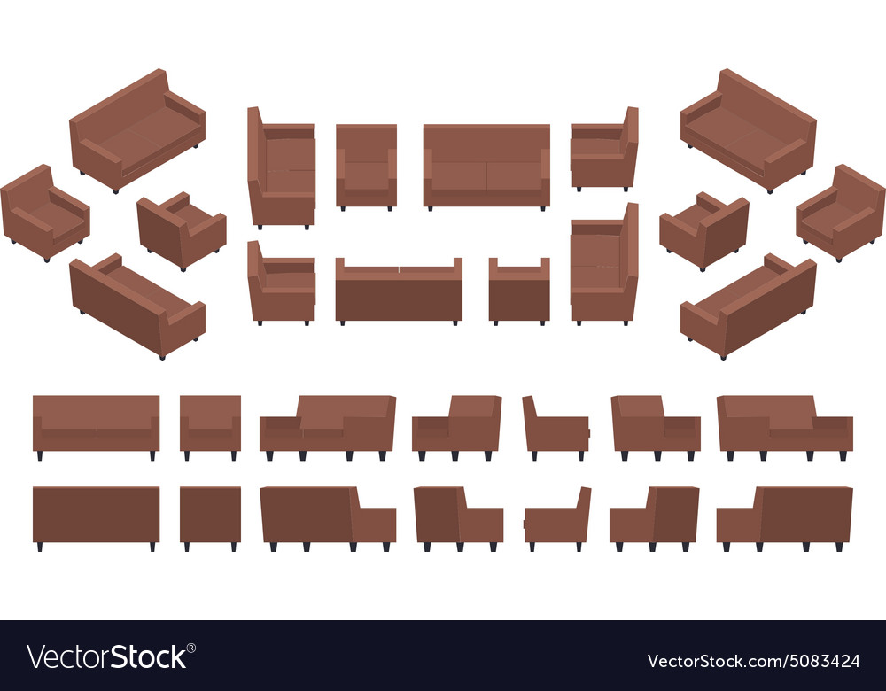 Isometric modern armchair and sofa vector