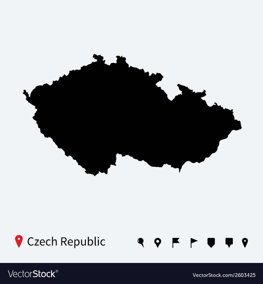 High detailed map of czech republic with vector