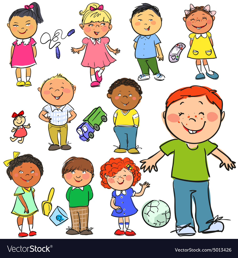 Kids hand drawn clipart vector