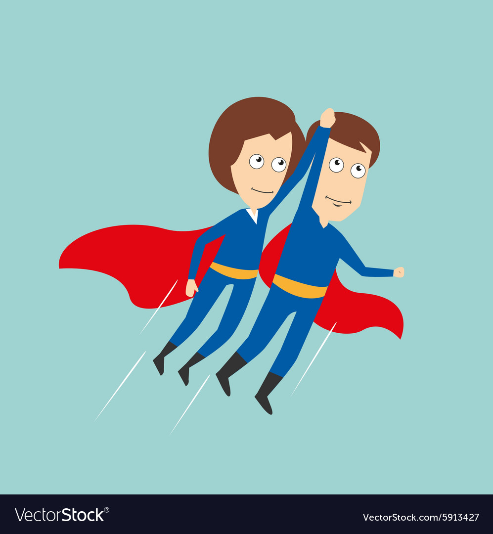 Superheroes business woman and businessman flying vector